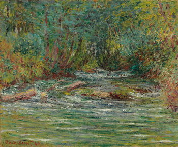 Canvastavla The River Epte at Giverny, Summer; La riviere de l'Epte a Giverny, l'ete, 1884
