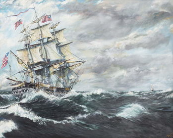 Canvastavla USS Constitution heads for HM Frigate Guerriere
