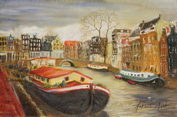 Canvastavla Red House Boat, Amsterdam, 1999