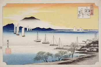 Canvastavla  Returning Sails at Yabase, from the series, '8 views of Omi', c.1834