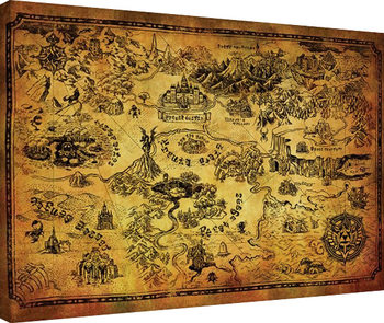 Canvastavla The Legend Of Zelda - Hyrule Map
