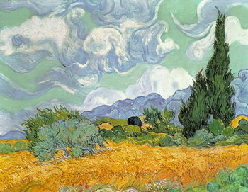 Canvastavla  Wheatfield with Cypresses, 1889