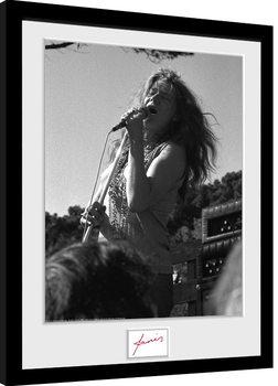 Janis Joplin - Singing BW gerahmte Poster
