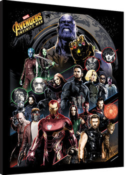 Gerahmte Poster Avengers Infinity War - Character Coloured Bands