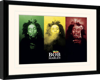 Gerahmte Poster Bob Marley - Tricolour Smoke