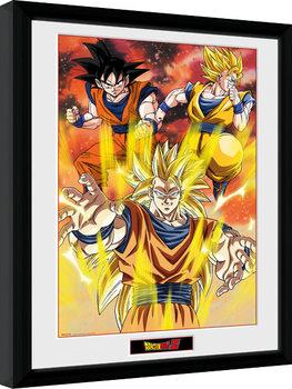 Gerahmte Poster Dragon Ball Z - 3 Gokus