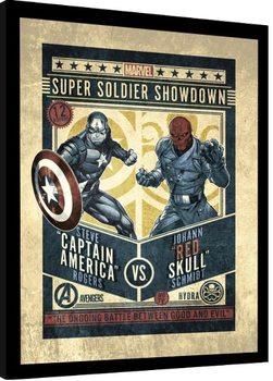 Gerahmte Poster Marvel Comics - Captain America vs Red Skull