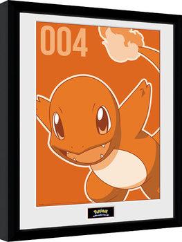 Gerahmte Poster Pokemon - Charmander Mono