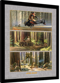 Gerahmte Poster Star Wars - Action on Endor's Moon