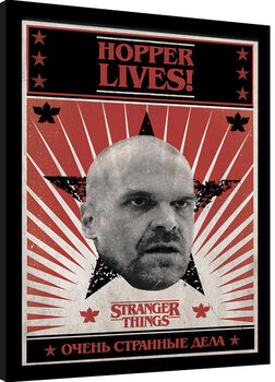Gerahmte Poster Stranger Things - Hopper Lives