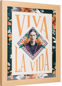 Indrammet plakat Frida Kahlo - Viva La Vida