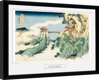 Indrammet plakat Hokusai - The Hanging Cloud Bridge