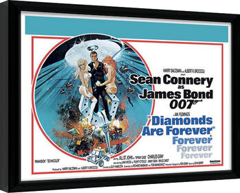 Indrammet plakat James Bond - Diamonds are Forever 1