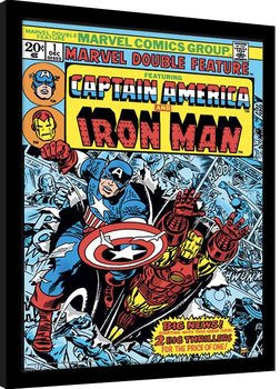 Indrammet plakat Marvel Comics - Captain America and Iron Man