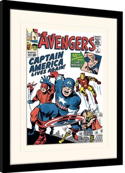 Indrammet plakat Marvel Comics - Captain America Lives Again
