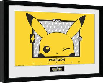 Indrammet plakat Pokemon - Pikachu wink