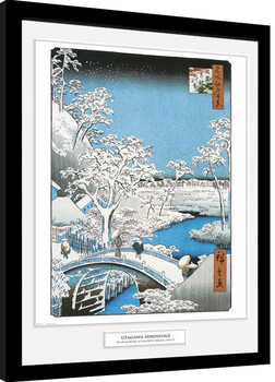 Hiroshige - The Drum Bridge indrammet plakat