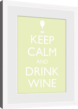 Keep Calm - Wine (White) indrammet plakat
