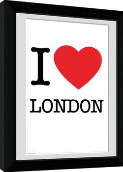 London - I Love indrammet plakat