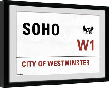 London - Soho indrammet plakat