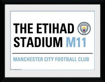 Manchester City - Street Sign indrammet plakat