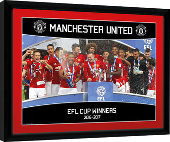 Manchester United - EFL Cup Winners 16/17 indrammet plakat