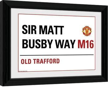 Manchester United - Street Sign indrammet plakat