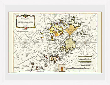 Maps - Isle Of Scilly indrammet plakat