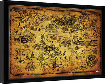 The Legend Of Zelda - Hyrule Map indrammet plakat