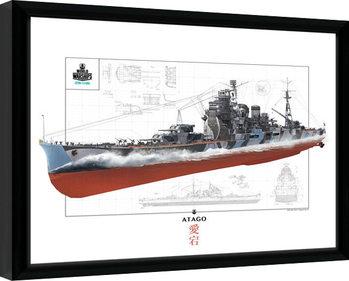 World Of Warships - Atago indrammet plakat