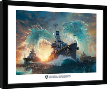 World Of Warships - Dragons indrammet plakat