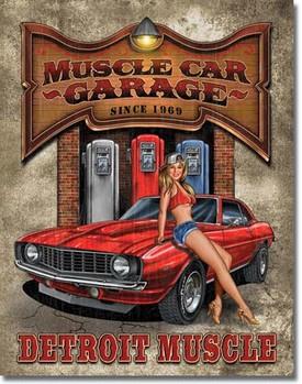Metallschild LEGENDS - muscle car garage
