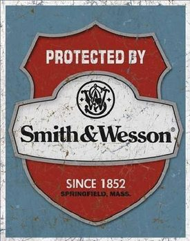 Metallschild S&W - protected by