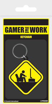 Gamer At Work - Caution Sign Breloczek