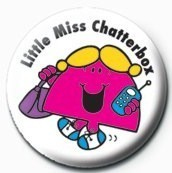 MR MEN (Little Miss Chatterbox) button