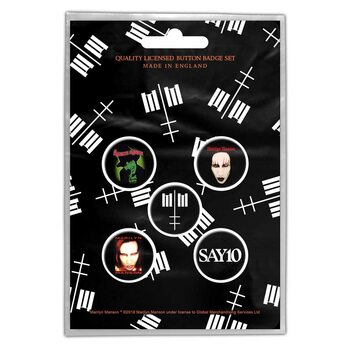 Button Marilyn Manson - Cross Logo