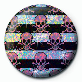 Button MULTI SKULL - Pink