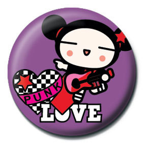 Button PUCCA - purple punk love