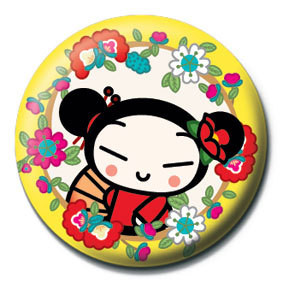 Button  PUCCA - yellow flowers