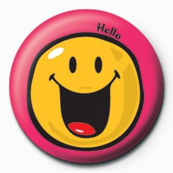 Button Smiley World-Hello