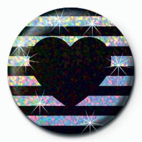Button STRIPY HEART