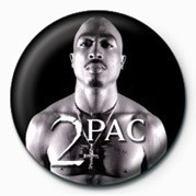 Button Tupac (B&W)