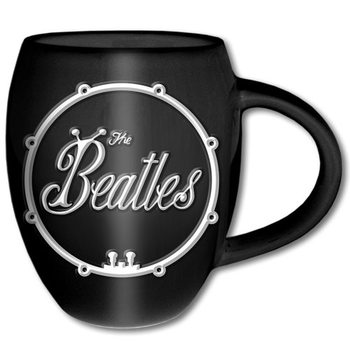 The Beatles – White On Black Bug Logo Oval Cană