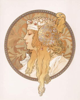 Canvas Byzantine head of a blond maiden; Tete byzantine d'une femme blonde