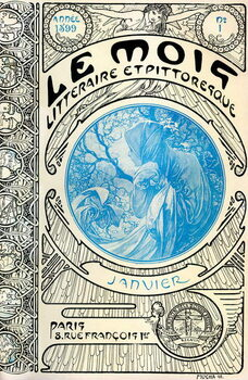 Canvas Cover of the magazine (monthly magazine) The Litterary and Picturesque Month by Alphonse Mucha : January 1899 - Maison de la Bonne Presse -