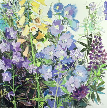 Canvas Delphiniums and Foxgloves