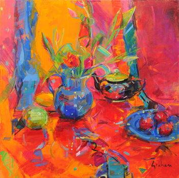 Obraz na plátne Red Tulips and Fruits