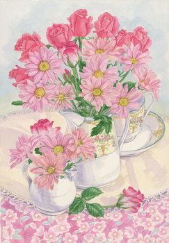 Obraz na plátne Roses and Chrysanthemums, 1996