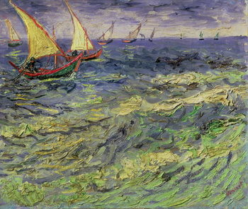 Canvas Seascape at Saintes-Maries (View of Mediterranean) 1888