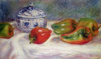Canvas Still life with a sugar bowl and red peppers
